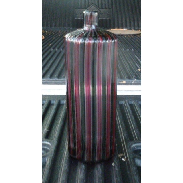 1960s 1960s Italian Murano Signed Venini Multi Striped Bottle For Sale - Image 5 of 13