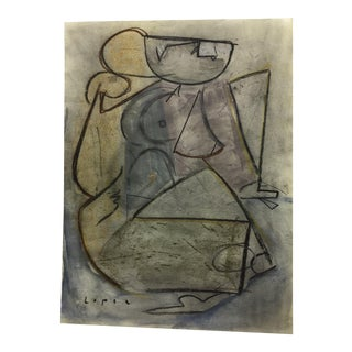 Cubist Watercolor With Pastel by Lucia Lopez For Sale