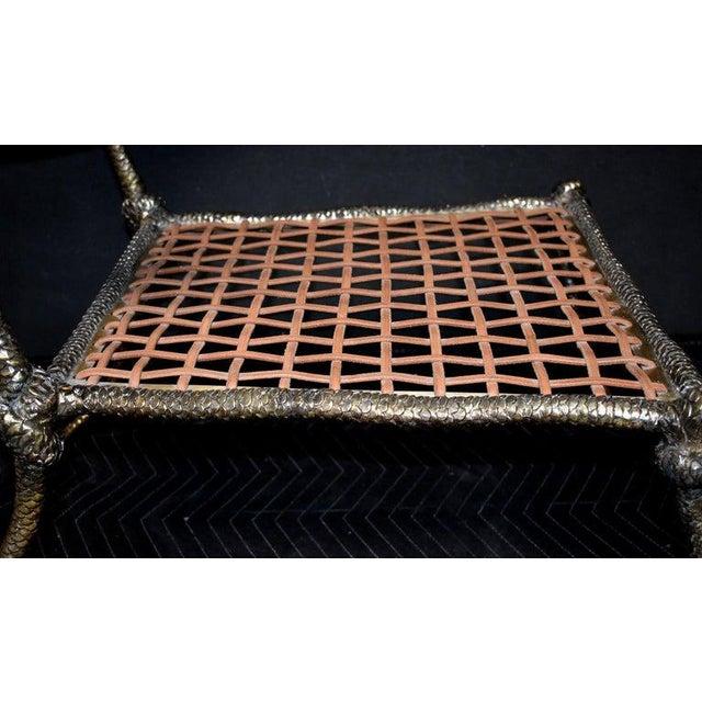 """Gold Sculptural """"Snake"""" Design Brass Desk or Bedroom Chair For Sale - Image 8 of 9"""