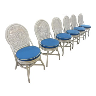 Coastal Style Rattan Painted Chairs - Set of 6 For Sale