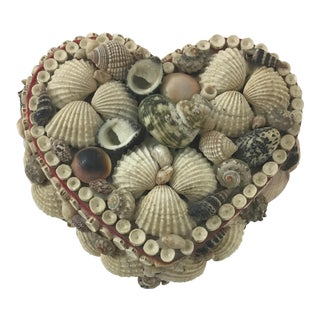 Heart Shaped Folk Art Box With Shells For Sale