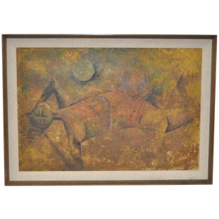 Reclining Figure Mid Century Modern Cubist Painting C.1950s For Sale