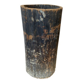 European Wabi Sabi Hollowed Tree Trunk Wood Planter - 19th C For Sale