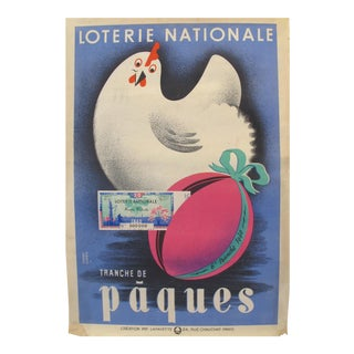 "1940 French Art Deco Poster - Loterie Nationale Advertisement - ""Tranche De Paques"" (White Chicken) For Sale"