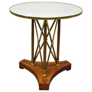French Marble Top Brass X-Frame Maison Jansen Neoclassical Gueridon Side Table For Sale