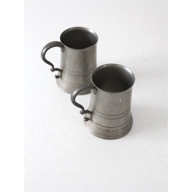 Metal Antique Pewter Glass Bottom Tankards - a Pair For Sale - Image 7 of 13