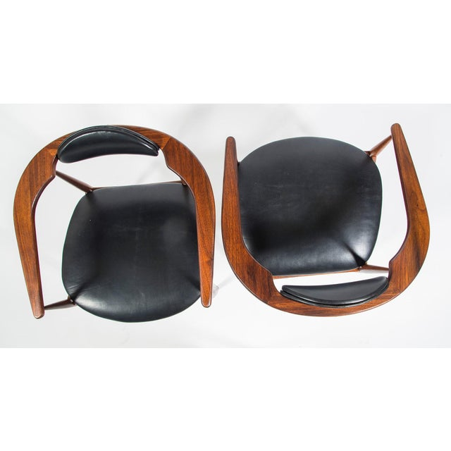 1960s Adrian Pearsall Craft Associates Mid Century Black Leather 950 Chairs - a Pair For Sale - Image 5 of 13