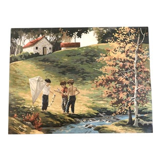 "Original Vintage Signed Paint by Number ""Boys With Kite"" Painting 1960's For Sale"