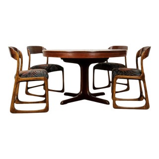 French 1960s Scandinavian Modern Rosewood Dining Suite - 5 Pieces For Sale