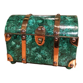 Mid-Century Modern Italian Malachite and Brass Treasure Chest Box For Sale