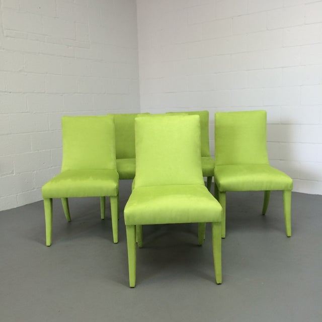 Mid Century Lime Dining Chairs - Set of 6 - Image 3 of 9
