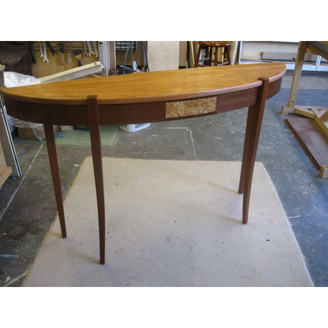 Contemporary Lakewood Mahogany Top Demi Lune Console For Sale - Image 3 of 5