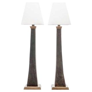 Lawrence & Scott Somand Verdigris Bronze Torchiere Table Lamps - a Pair For Sale