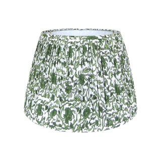 Green Floral Block Print Pleated lampshade