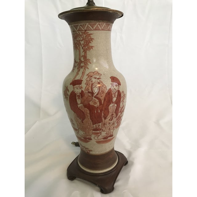 Asian Chinoiserie Hand Painted Ginger Jar Lamp For Sale - Image 6 of 7
