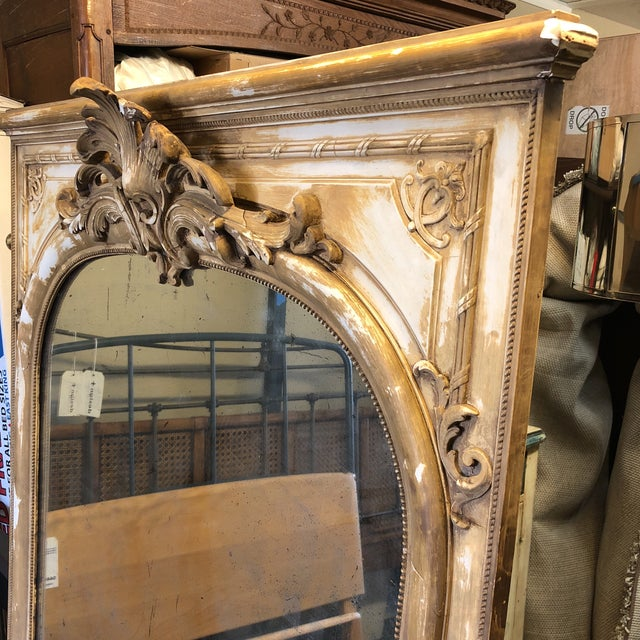 Design Plus Gallery presents a beautiful French antique mirror, of a scale for wall mount or leaning. A 19th century...