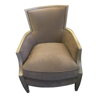 Hickory Furniture Modern Two Toned Taupe Upholstered Arm Chair For Sale