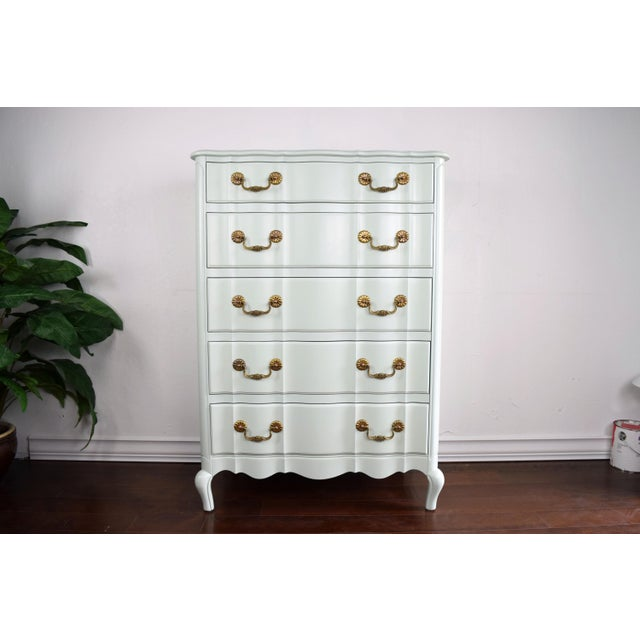 French Provincial Serpentine French Provincial Green Mint Highboy Dresser For Sale - Image 3 of 9