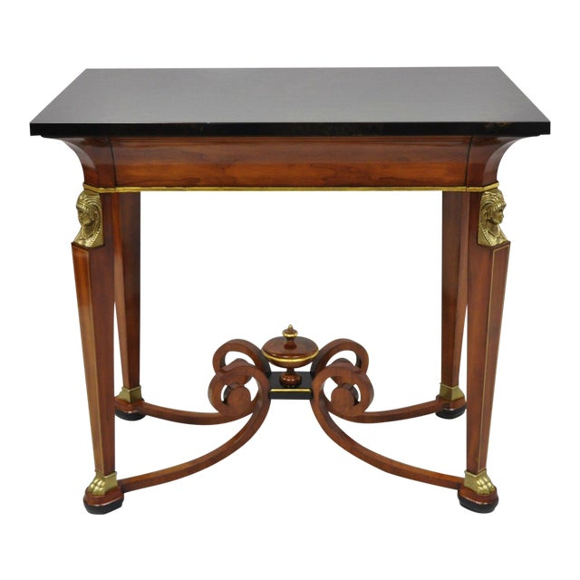20th Century French Empire John Widdicomb Figural Bronze Mounted Occasional Lamp Table For Sale
