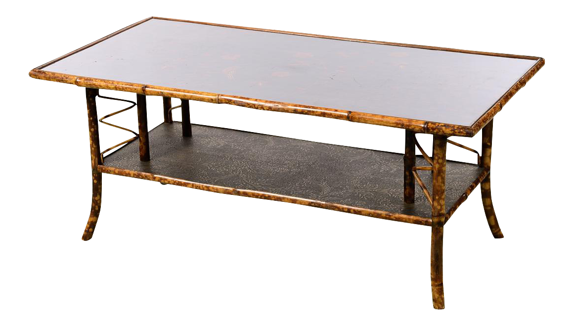19th Century English Bamboo Coffee Table W/Beautiful Lacquered Top   Image  1 Of 10