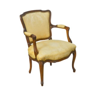 French Louis XV Style Antique Late 19th Century Fauteuil Arm Chair For Sale