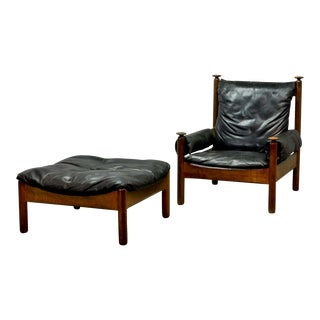 Sturdy Mid-Century Black Leather Scandinavian Lounge Chair with Ottoman, 1960s For Sale