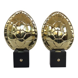 Pair of Brass Turtle Shell Sconces For Sale