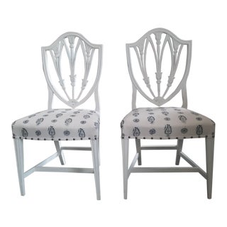 Vintage Hepplewhite Side Chairs Brunschwig Paisley Fabric - a Pair (6 Available) For Sale