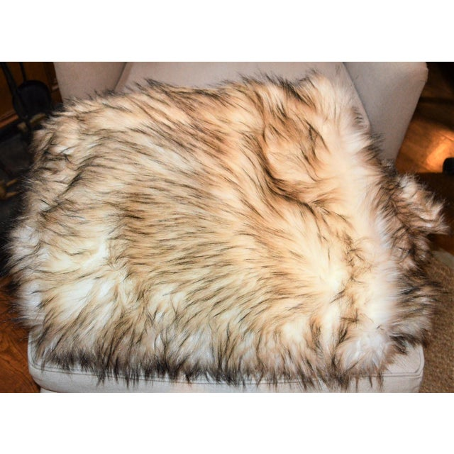 Black Wild Mannered Faux Fur Bleached Finn Throw For Sale - Image 8 of 11