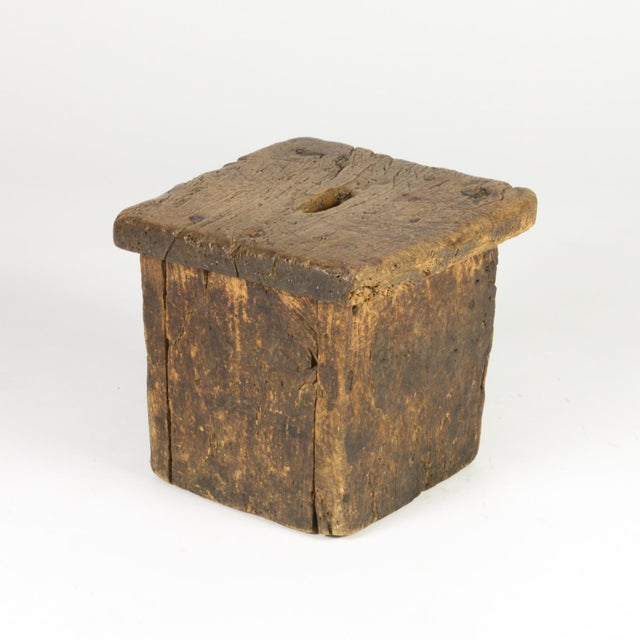 Small rustic square oak stool of box construction with pierced top, English circa 1800 – a quaint, charming, vintage...