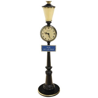 Lecoultre Rue De La Paix Lantern Table Desk Clock 8 Day Movement, 1960s Bronze For Sale