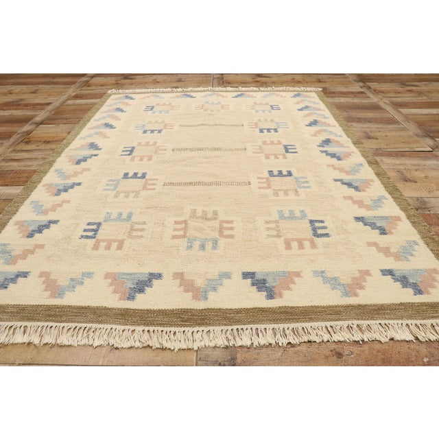 Vintage Scandinavian Modern Style Swedish Kilim Rug - 5'8 X 7'7 For Sale In Dallas - Image 6 of 9