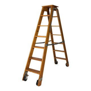 Foldable Wooden Library Ladder For Sale