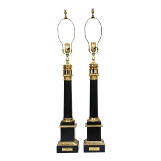 French Tole-Peinte & Brass Oil Lamps - A Pair For Sale