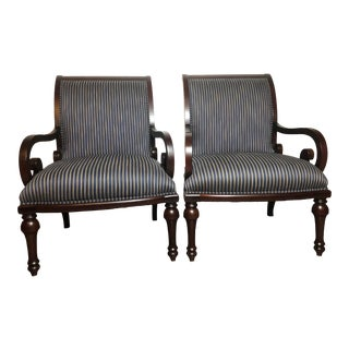 Late 20th Century Vintage Henredon Traditional Accent Chairs- A Pair For Sale