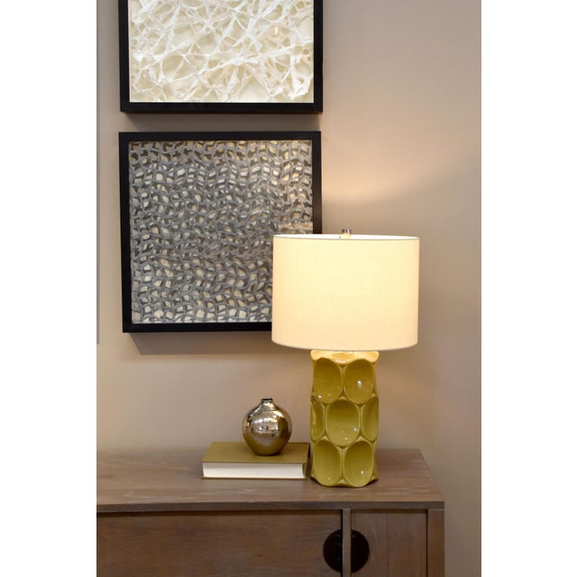 2010s Modern Green Glaze Ceramic Retro Table Lamp With Shade For Sale - Image 5 of 5