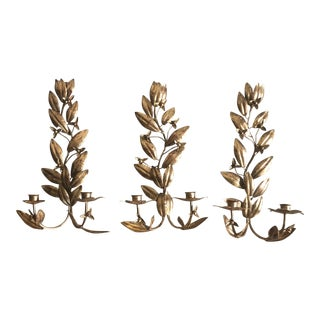 Anthropologie Aged Brass Candle Sconces - Set of 3 For Sale