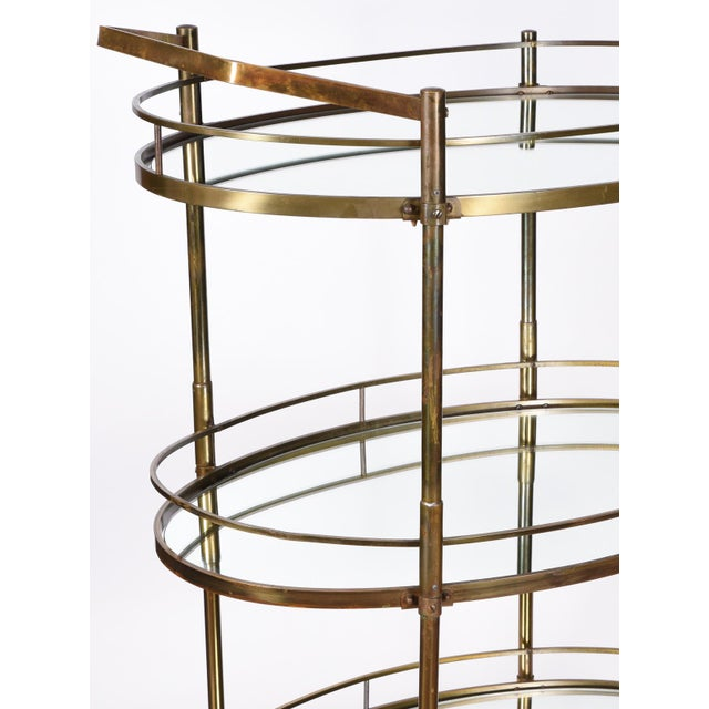1930s Vintage Three-Tiered Mirrored Shelves Wheeled Bar Cart For Sale - Image 5 of 7