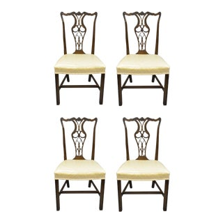 Antique Mahogany Pagoda Carved Chinese Chippendale Style Dining Chairs - Set of 4 For Sale