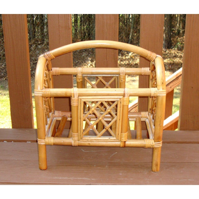 "Add some natural and sustainable materials to your MCM or modern decor with this cool Vintage Bamboo Magazine Rack. 17"" l..."