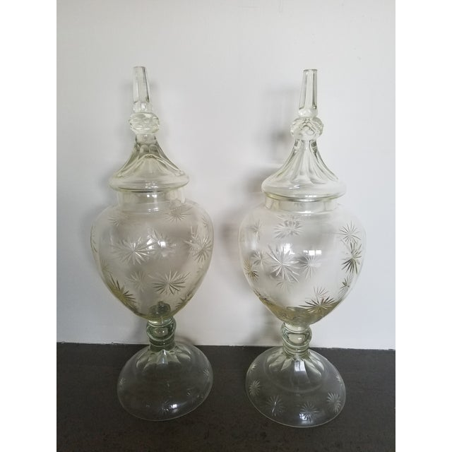 """Pair 30"""" Tall Cut Crystal Glass Lidded Apothecary Jars For Sale - Image 11 of 11"""