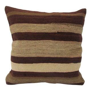 Vintage Turkish Striped Wool Kilim Pillow For Sale