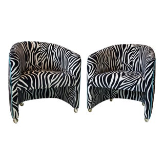 Cut Velvet Zebra Barrel Chairs on Casters For Sale