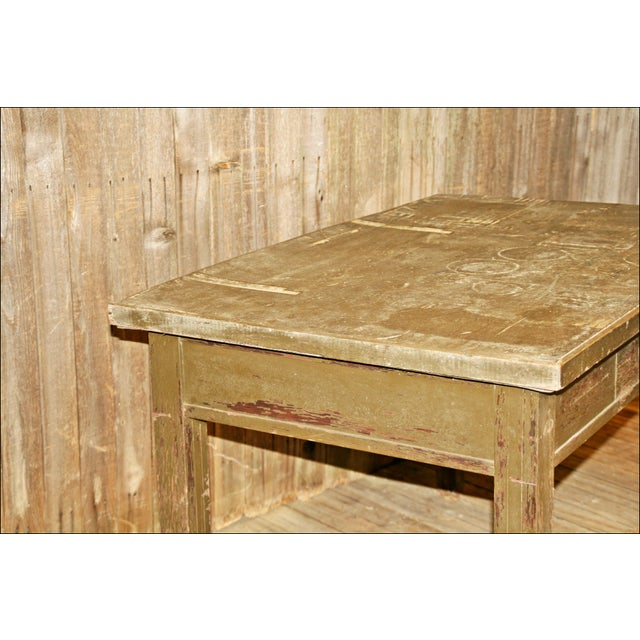 Vintage Industrial Wood Library Table - Image 9 of 11