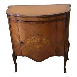 1900s French Satinwood Demi Lune Console Table For Sale