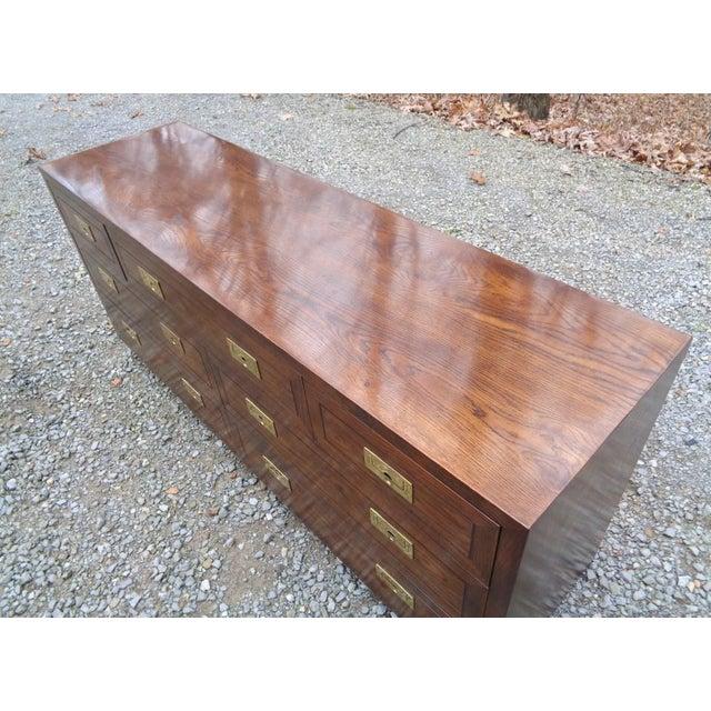 Gold Vintage Henredon Campaign Oak Dresser Chest of Drawers For Sale - Image 8 of 13