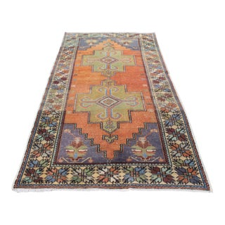 "Turkish Antique Handmade Rug - 57"" x 108"" For Sale"