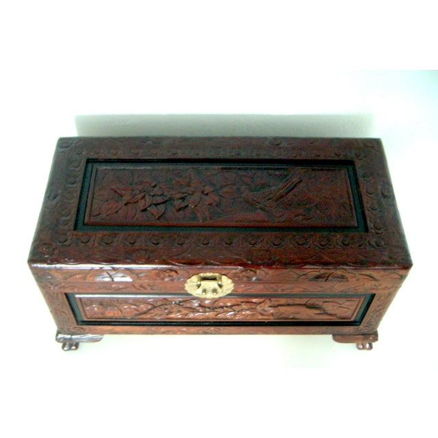 Brass Vintage Chinese Hand Carved Wood Storage Chest / Trunk For Sale - Image 7 of 7