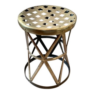 Brass Drum Stool With Lattice Top For Sale