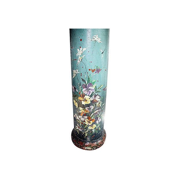 Truly a one of a kind, a fired terracotta stovepipe French plant stand hand paint decorated in a floral and butterfly...